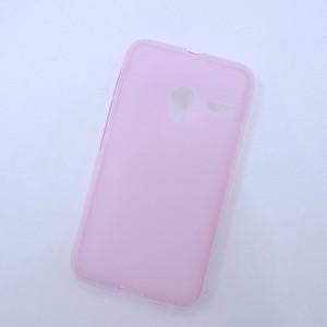 Силиконовый матовый полупрозрачный чехол для Alcatel One Touch Pixi 3 (4.0) Розовый