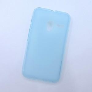 Силиконовый матовый полупрозрачный чехол для Alcatel One Touch Pixi 3 (4.0) Голубой