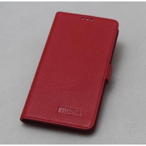 Кожаный чехол горизонтальная книжка (нат. кожа) с крепежной застежкой для Meizu MX4 Pro Красный