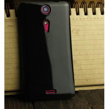 Силиконовый глянцевый непрозрачный чехол для Sony Xperia TX Черный