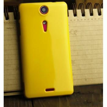 Силиконовый глянцевый непрозрачный чехол для Sony Xperia TX Желтый