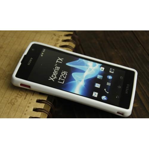 Силиконовый глянцевый непрозрачный чехол для Sony Xperia TX Белый