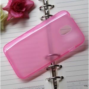 Силиконовый полупрозрачный чехол для HTC Desire 210 Розовый