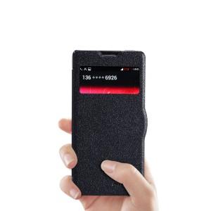 Текстурный чехол флип с окном вызова на пластиковой нескользящей основе для ZTE Nubia Z5S Mini Черный