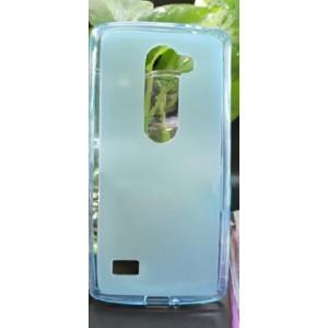 Силиконовый матовый полупрозрачный чехол для LG Leon Голубой
