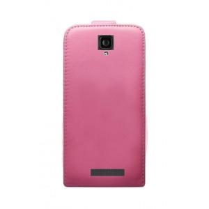 Чехол вертикальная книжка на клеевой основе на магнитной защелке для Oukitel K6000 Pro Розовый