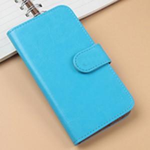Чехол портмоне подставка на клеевой основе на магнитной защелке для Highscreen Spade Голубой
