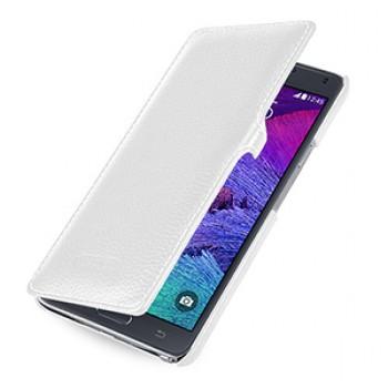 Кожаный чехол горизонтальная книжка (нат. кожа) с крепежной застежкой для Samsung Galaxy Note 4