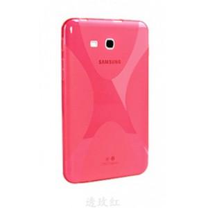 Силиконовый матовый полупрозрачный чехол с дизайнерской текстурой X для Samsung Galaxy Tab A 7 (2016) Розовый