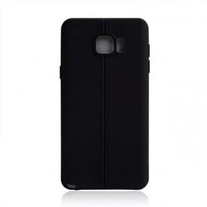 Силиконовый матовый непрозрачный чехол дизайн Нити для Samsung Galaxy Note 5 Черный