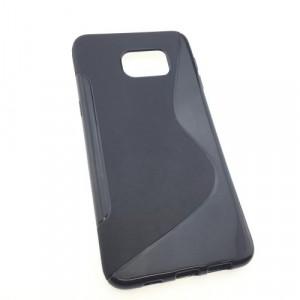 Силиконовый матовый полупрозрачный чехол с дизайнерской текстурой S для Samsung Galaxy S6 Edge Plus Черный