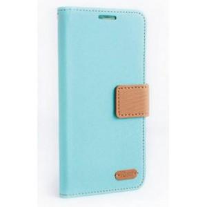 Чехол портмоне подставка на силиконовой основе текстура Ткань с дизайнерской застежкой и отделением для карт для ASUS Zenfone 2 Laser 5 ZE500KL Голубой