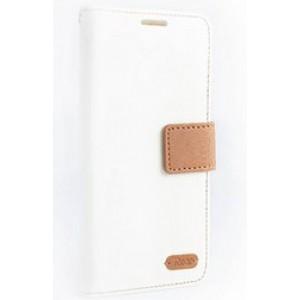Чехол портмоне подставка на силиконовой основе текстура Ткань с дизайнерской застежкой и отделением для карт для ASUS Zenfone 2 Laser 5 ZE500KL Белый