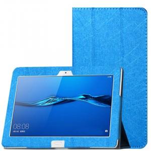 Сегментарный чехол книжка подставка текстура Линии с рамочной защитой экрана для Huawei MediaPad M3 Lite 10 Голубой