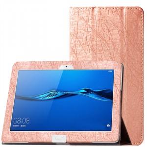Сегментарный чехол книжка подставка текстура Линии с рамочной защитой экрана для Huawei MediaPad M3 Lite 10 Бежевый