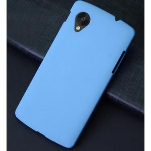 Пластиковый матовый чехол с повышенной шероховатостью для Google Nexus 5 Голубой