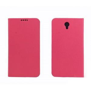 Текстурный чехол флип подставка с отделениями для Alcatel One Touch Idol 2 Розовый