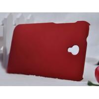Пластиковый матовый металлик чехол для Alcatel One Touch Idol 2 Красный