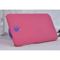 Пластиковый матовый металлик чехол для Alcatel One Touch Idol 2 Розовый