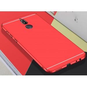 Пластиковый матовый непрозрачный чехол с доп. защитой торцов и текстурой Линии для Huawei Nova 2i Красный