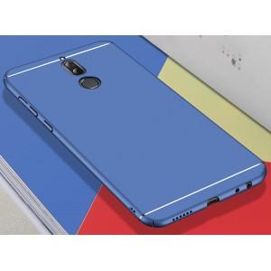 Пластиковый матовый непрозрачный чехол с доп. защитой торцов и текстурой Линии для Huawei Nova 2i Синий