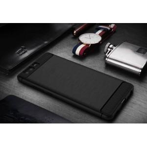 Силиконовый матовый непрозрачный чехол с поликарбонатным бампером и текстурным покрытием Металлик для Huawei P10 Plus