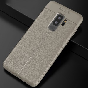 Силиконовый матовый непрозрачный чехол с текстурным покрытием Кожа для Samsung Galaxy S9 Plus Серый
