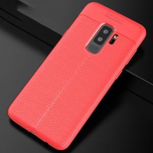 Силиконовый матовый непрозрачный чехол с текстурным покрытием Кожа для Samsung Galaxy S9 Plus Красный