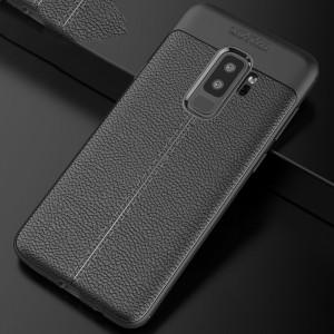 Силиконовый матовый непрозрачный чехол с текстурным покрытием Кожа для Samsung Galaxy S9 Plus Черный