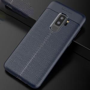 Силиконовый матовый непрозрачный чехол с текстурным покрытием Кожа для Samsung Galaxy S9 Plus Синий