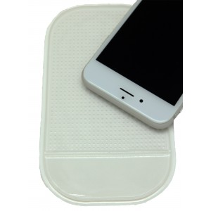 Нескользящий автомобильный силиконовый коврик для гаджетов 14х8 см Белый