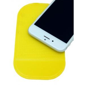 Нескользящий автомобильный силиконовый коврик для гаджетов 14х8 см Желтый