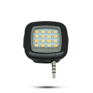 Квадратная LED-вспышка 200мАч 3 Вт с регулятором яркости и подключением через аудиоразъем Черный