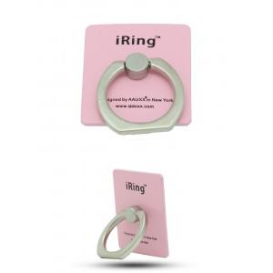 Матовое металлическое антиграбежное клеевое кольцо-подставка текстура Металлик для одноручного управления гаджетом Розовый
