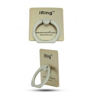 Матовое металлическое антиграбежное клеевое кольцо-подставка текстура Металлик для одноручного управления гаджетом Бежевый