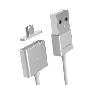 Эксклюзивный инновационный магнитный зарядный симметричный смарт-кабель USB-MicroUSB 2.0 1м для мгновенного подсоединения гаджета Серый