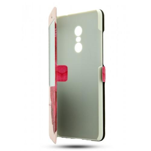 Чехол горизонтальная книжка подставка на пластиковой основе с окном вызова и полноповерхностным принтом для Xiaomi RedMi Note 4
