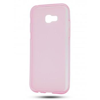 Силиконовый матовый полупрозрачный чехол для Samsung Galaxy A5 (2017) Розовый