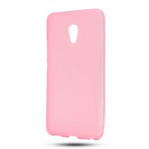 Силиконовый матовый полупрозрачный чехол для Meizu M5 Розовый