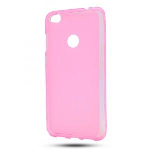 Силиконовый матовый полупрозрачный чехол для Huawei Honor 8 Lite Розовый