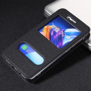 Чехол горизонтальная книжка подставка текстура Золото на силиконовой основе с окном вызова и свайпом на присоске для Huawei Honor 6C Pro