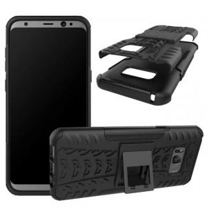 Двухкомпонентный силиконовый матовый непрозрачный чехол с поликарбонатными бампером и крышкой и встроенной ножкой-подставкой для Samsung Galaxy S8 Plus