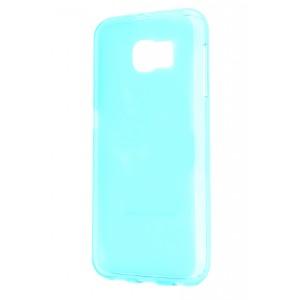Силиконовый матовый полупрозрачный чехол для Samsung Galaxy S6 Голубой