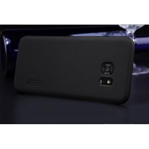 Пластиковый матовый нескользящий премиум чехол для Samsung Galaxy S7 Edge Черный