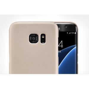 Пластиковый матовый нескользящий премиум чехол для Samsung Galaxy S7 Edge Бежевый