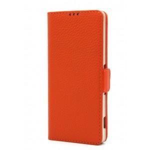 Кожаный чехол горизонтальная книжка подставка на магнитной защелке для Sony Xperia XA Оранжевый
