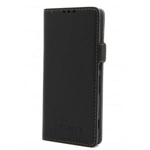 Кожаный чехол горизонтальная книжка подставка на магнитной защелке для Sony Xperia XA Черный