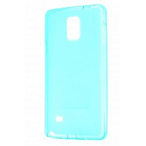 Силиконовый матовый полупрозрачный чехол для Samsung Galaxy Note 4 Голубой