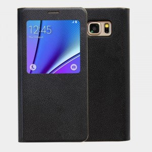 Кожаный чехол флип на пластиковой основе с окном вызова (нат. кожа) для Samsung Galaxy Note 5