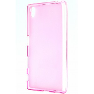 Силиконовый матовый полупрозрачный чехол для Sony Xperia Z5 Розовый